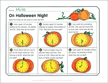 On Halloween Night: October Math Practice - Printable Worksheet