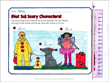 """Not So"" Scary Characters!: October Math Practice - Printable Worksheet"