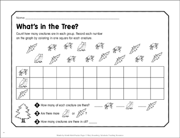 What's in the Tree?: October Math Practice - Printable Worksheet
