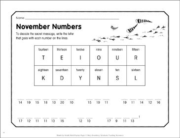 November Numbers: November Math Practice - Printable Worksheet