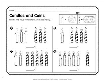 Candles and Coins: December Math Practice - Printable Worksheet