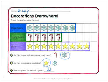 Decorations Everywhere! December Math Practice - Printable Worksheet