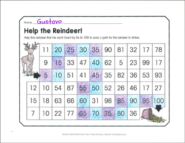 Help the Reindeer! December Math Practice - Printable Worksheet