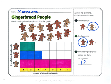 Gingerbread People: December Math Practice - Printable Worksheet