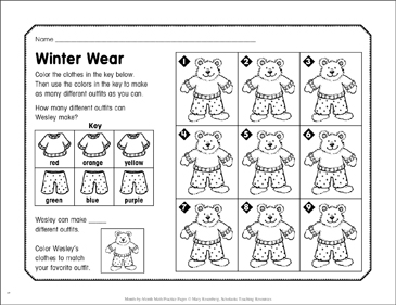 Winter Wear: January Math Practice - Printable Worksheet