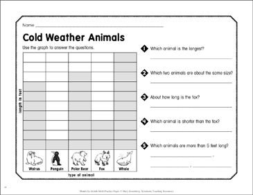 Cold Weather Animals: January Math Practice - Printable Worksheet