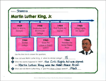 Martin Luther King, Jr.: January Math Practice - Printable Worksheet
