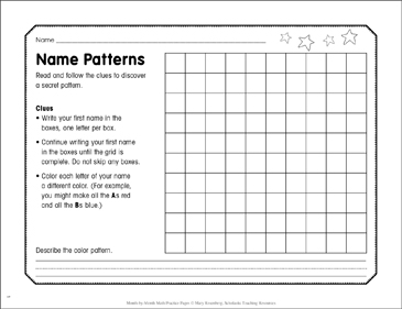 Name Patterns: January Math Practice - Printable Worksheet