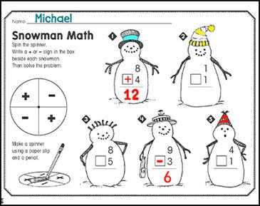 Snowman Math: January Math Practice | Printable Skills