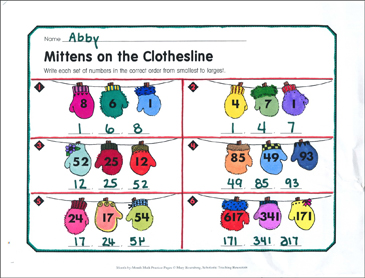 Mittens on the Clothesline: January Math Practice - Printable Worksheet