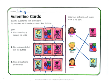 Valentine Cards: February Math Practice - Printable Worksheet