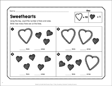 Sweethearts: February Math Practice - Printable Worksheet