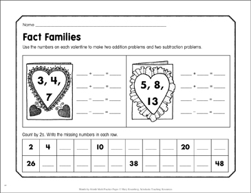Fact Families: February Math Practice - Printable Worksheet