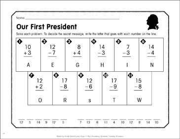 Our First President: February Math Practice - Printable Worksheet