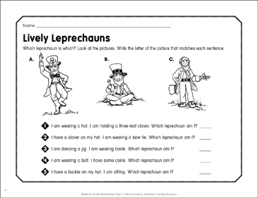 Lively Leprechauns: March Math Practice - Printable Worksheet