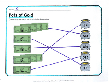 Pots of Gold: March Math Practice - Printable Worksheet