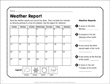 picture about Printable Weather Reports named Climate Posting: March Math Educate Printable Capabilities Sheets