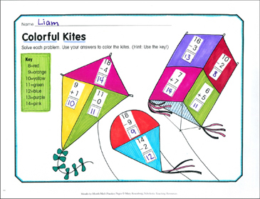 Colorful Kites: March Math Practice - Printable Worksheet