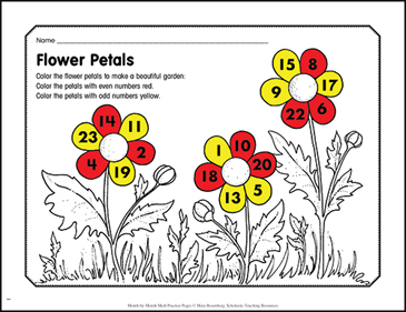 Flower Petals: March Math Practice - Printable Worksheet