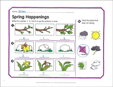 Spring Happenings: March Math Practice - Printable Worksheet