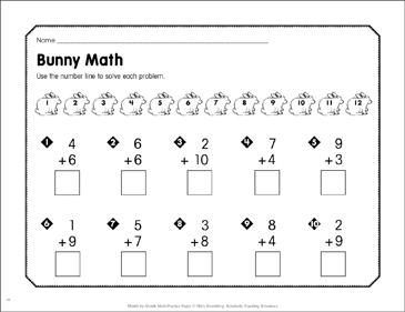 Bunny Math: April Math Practice - Printable Worksheet
