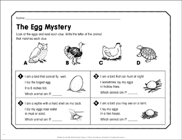 The Egg Mystery: April Math Practice - Printable Worksheet