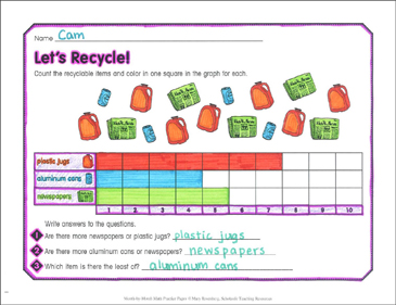 Let's Recycle!: April Math Practice - Printable Worksheet