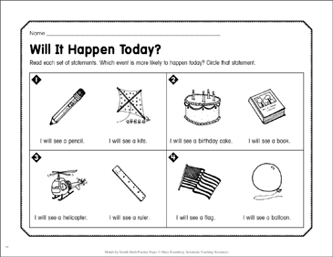Will It Happen Today?: April Math Practice - Printable Worksheet