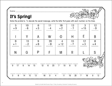 It's Spring!: May Math Practice - Printable Worksheet