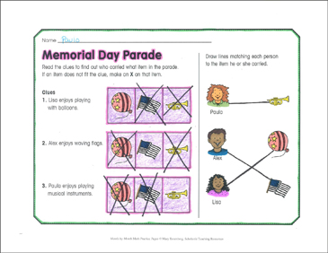 Memorial Day Parade: May Math Practice - Printable Worksheet