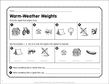 Warm-Weather Weights: June Math Practice - Printable Worksheet