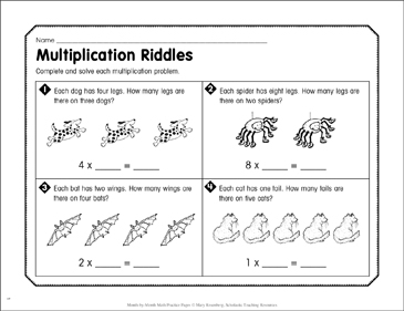 Multiplication Riddles: June Math Practice - Printable Worksheet