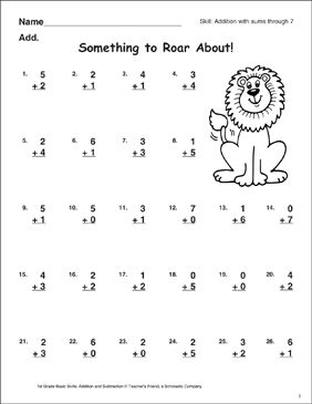 Something to Roar About! (Sums Through 7) - Printable Worksheet