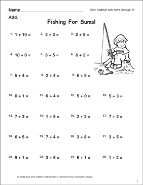 Fishing for Sums (Sums Through 11) - Printable Worksheet