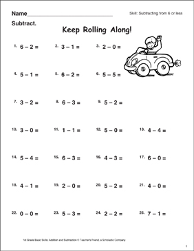 Keep Rolling Along! (Subtracting From 6 or Less) - Printable Worksheet