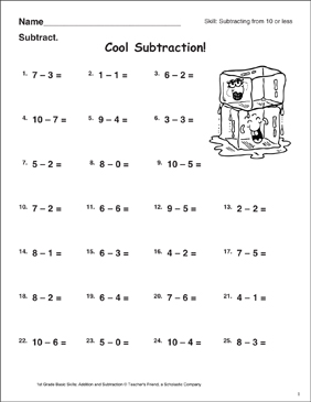 Cool Subtraction! (Subtracting From 10 or Less) - Printable Worksheet