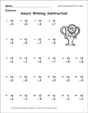 Award Winning Subtraction! (Subtracting From 15 or Less) - Printable Worksheet