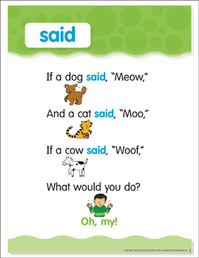 Said: Sight Word Poem and Word Cards - Printable Worksheet