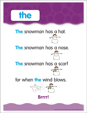 The: Sight Word Poem and Word Cards - Printable Worksheet