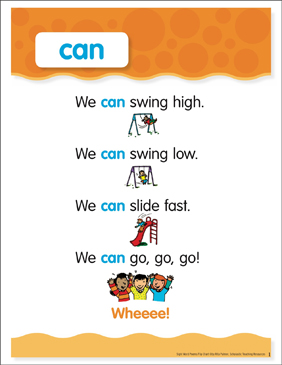 Can: Sight Word Poem and Word Cards - Printable Worksheet
