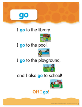 Go: Sight Word Poem and Word Cards - Printable Worksheet