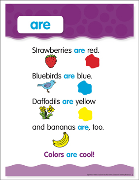 Are: Sight Word Poem and Word Cards - Printable Worksheet