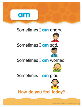Am: Sight Word Poem and Word Cards - Printable Worksheet