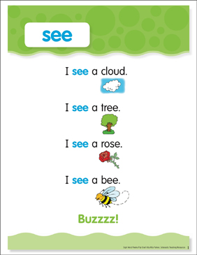 See: Sight Word Poem and Word Cards - Printable Worksheet