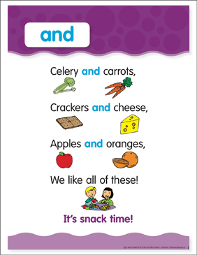 And: Sight Word Poem and Word Cards - Printable Worksheet