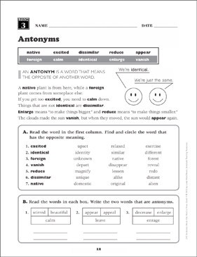 Antonyms: Grade 4 Vocabulary - Printable Worksheet