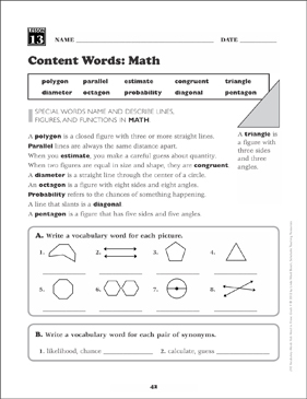 Content Words (Math): Grade 4 Vocabulary - Printable Worksheet