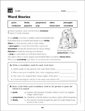 Word Stories: Grade 4 Vocabulary - Printable Worksheet