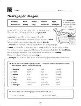 newspaper jargon grade 4 vocabulary printable skills sheets. Black Bedroom Furniture Sets. Home Design Ideas