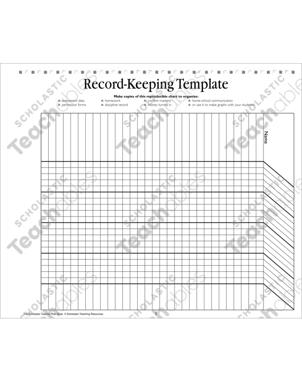 Record-Keeping Template: Teacher Resource | Printable Forms and ...